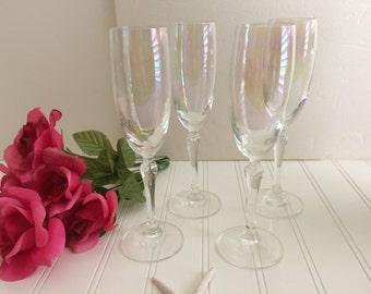 Champagne Flutes Iridescent Set of 4 Vintage Glassware Crystal Flutes