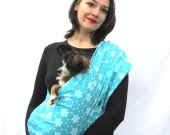 Pet Dog Sling Carrier blue Polka dots