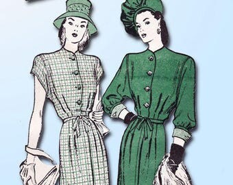 1940s Vintage Butterick Sewing Pattern 3611 Misses Street Dress Size 12 30 Bust