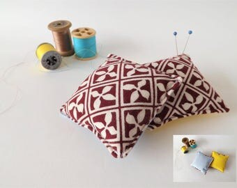 Recycled Fabric Swatch, Scrap and Offcut Pin Cushion with Eco Friendly Wadding, Sustainable Haberdashery Supplies