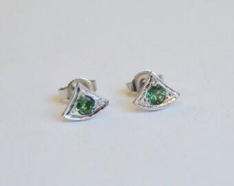 White Gold Studs, Tourmaline Studs, Tourmaline Earrings, Blue Gemstone Earrings, Art Deco Studs, Fan Style Studs, Antique Style Studs