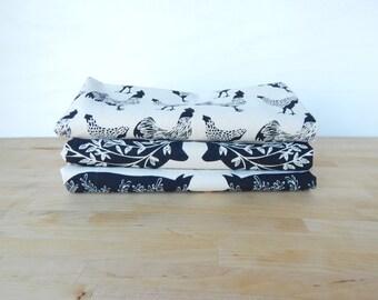 Tea Towel, Hand Printed, Black Farm Prints, 3 Natural Cotton Towels