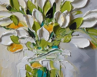 Oil Painting Tulips , Impasto , Original Painting , Palette Knife , Jan Ironside ,