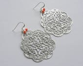 Custom Listing - Large Earrings Orange and Silver Statement Earrings Silver Jewelry Filigree Earrings Metal
