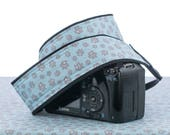Paw Prints Camera Strap, dSLR, SLR, Mirrorless, Universal fit, Dog, Cat, Baby Blue, Camera Neck Strap, Canon, Nikon, 253