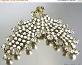 March Madness Sale Vintage Dangling Waterfall Earrings with White Cabochons and Clear Rhinestones