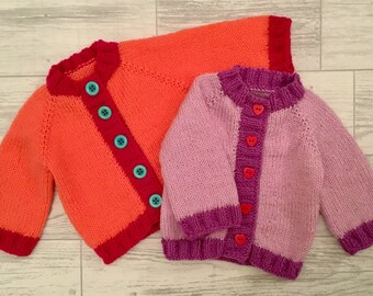 Hand knitted 0-3 3-6 and 9-12 months baby sweater ANY colours