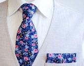 Necktie, Neckties, Mens Necktie, Neck Tie, Floral Neckties, Groomsmen Necktie, Groomsmen Gift, Rifle Paper Co - PRE-ORDER Rosa In Navy