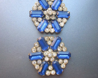 Large Vintage Blue Rhinestone Buttons Sewing Supply Coat Buttons
