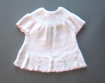 Baby Girl White Sweater Dress Pink Embroidery 6-12 months
