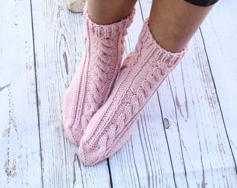 Hand knit socks cable knit socks bed socks dusty pink neutral color cottage chic womens socks gift for her handmade Mothers Day warm socks