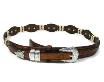 Vintage Brown Leather Belt Size 34 Tony Lama Silver Concho Braided Trim