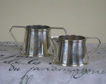 Art Deco Nickel Silver Plate Creamer and Sugar, Antique Barbour Silver Co., Vintage Etched 4006 Numbered and Incised