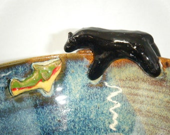 Bear Bowl Rainbow Trout Fish Cup Black Bear Fishing Spruce Green Brown ClayDogStudio