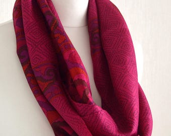 Cerise Magenta Pure Silk Sari Scarf - Pure Silk Sari Scarf - Pure Silk Scarf - Pure Silk Sari Infinity Scarf - Boho Scarf - CMCISE0279
