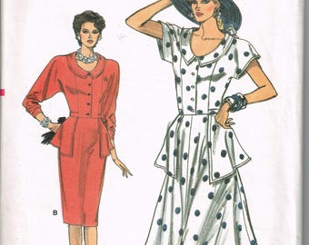 1980s Dress With Peplum Vogue 9924 Bust 31 32 34 Short or Long Sleeves Button Front Straight or Flared Skirt Vintage 1987 Sewing Pattern