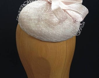 Pink Sinamay Beret with veiling and Sinamay Loops - Very stylish hat great for a wedding or the races, can be made in other colours