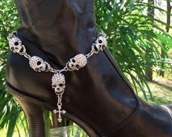 Rhinestone Skull and Cross Boot Bracelet