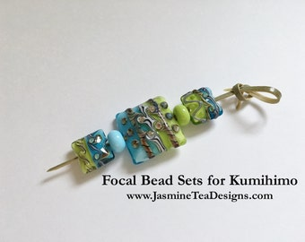 Turquoise And Lime Green Focal Grouping, 5 Piece Focal Grouping For Kumihimo Beaded Jewelry And Fiber Braids, Venetian Glass, Lampwork Beads