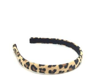 Leopard Headband - Leopard print headband - Big Girl Headband, Adult Headband - Fabric Covered Headband - Cheetah Headband - Narrow Headband
