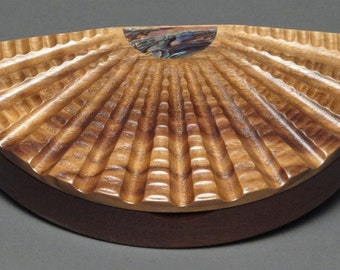Scallop Box with Abalone Inlays made from Walnut and Pecan woods