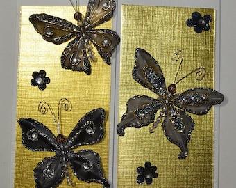 Gold Butterfly Birthday Tri-Fold Card