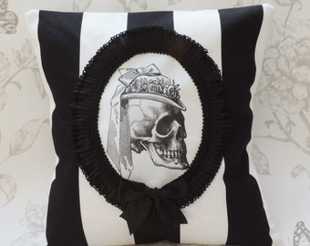 Gothic victorian pillow, Lady skull cameo, cameo pillow,  cushion,  black white stripes,  halloween,  macabre,  home decor
