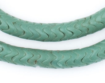 Glass Snake Beads, Sea Green Color Large - African Trade Beads - Jewelry Making Supplies - Made in Ghana ** (SNAKE-GRN-208)