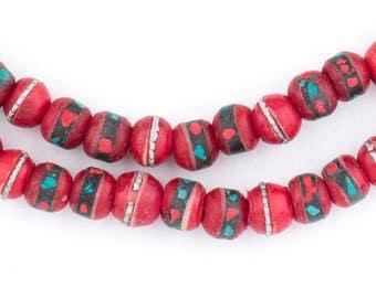 108 Vintage Tibetan Prayer Beads - Inlaid Bone Beads - Authentic Tibetan Beads - Jewelry Making Supplies - Rosary Beads ** (BON-RND-RED-260)