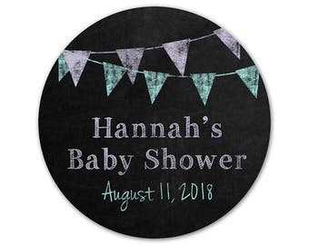 Personalized Baby Shower Stickers - Baby Shower Labels - Custom Favor Stickers - Chalkboard Labels - Favor Stickers - Banner Labels