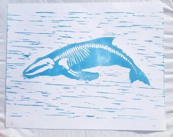 Whale Bones Lino Print Mermaid Humpback Whale Art linoprint One Unframed A4 Linocut Print Blue Whale Print Art hand Pulled Print Limited Ed
