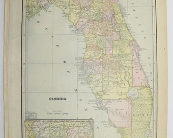 1891 Florida Map, Vintage Map of Florida, Sunshine State Map, Vintage Florida Gift for Family, FL Map, Unique Wedding Gift for Couple
