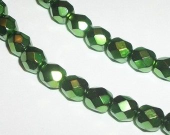 Preciosa Czech fire polished glass ROUND faceted Crystal Beads Opaque emerald (green) carmen  Full strand - Available in 4mm, 6mm, 8mm, 10mm