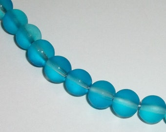 8mm Glass round beads Frosted Blue clear beads  1 strand per lot 50 beads