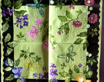 Decoupage Napkins, 2+1 FREE Giant Paper Napkins, Flowers and Butterflies, 18 inches (42cm) for Decoupage, Paper-Craft and Collage
