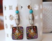 Colorful Earrings, Starburst Earrings, Artisan Enamel Earrings, Festive Earrings,