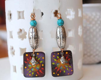 Colorful Earrings, Starburst Earrings, Artisan Enamel Earrings, Festive Earrings,