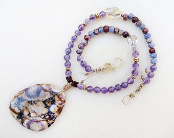 Pendant Necklace Purple Jasper, Dinosaur, Eye Jasper, Amethyst, Citrine, Leather, Gold, Purple, February Birthstone, Handmade, Gift for Her
