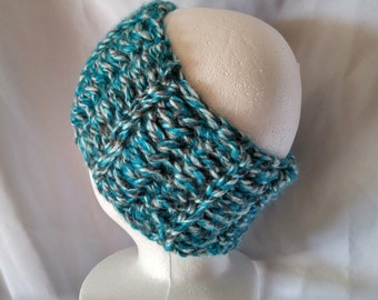 Teal and black Crochet headband Thick Chunky ear warmer Ear muff Head wrap Teen head scarf Winter accessory Unisex stocking stuffer gift