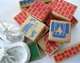 Wooden Toy Building Blocks, Lot of 13 Toy Blocks, Childrens Toys, Aged Building Blocks, by mailordervintage on etsy