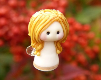 Little Blonde Haired Angel glass bead