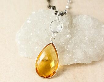 Crystal Quartz & Yellow Citrine Quartz Teardrop Necklace - Metallic Pyrite Chain - Layering Necklace