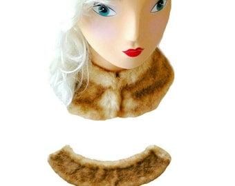 Fur Collar - Faux - Fake - Vegan - Mink - Soft - Movie Star - Art Deco - Gatsby - Retro - 80s Versatile - Champagne Beige - Glamour Fashion