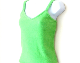 Camisole - Spring Green - Fleece - Polarfleece - St Patricks - Celtic - Beach - Festival - Layer - Hand Made - Original Design - Size Small