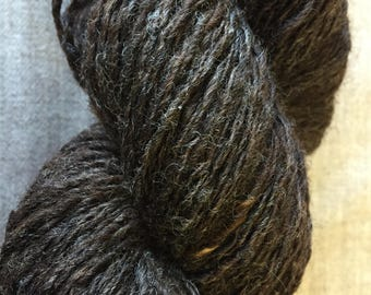 """Hand-Spun 100% Wool Yarn """"Chocolate Chip"""" Hand-Washed, Carded, Spun Naturally Colored Wool Yarn, 2 ply, Knit, Crochet, Weave, 292 yards"""