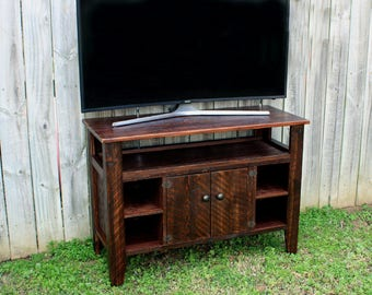 TV Stand. Entertainment Center. Rustic Media Center. Rustic TV Stand. Old World Style. 42 l x 18 d x 30 t. Chocolate Brown Finsh