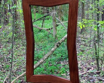 Red Mahogany Framed Mirror. Mahogany Framed Mirror. Sculpted Framed Mirror.  Bathroom Vanity Mirror. 24 w x 36 l. Red Mahogany Finish.