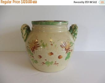 ON SALE Antique Cookie Jar, Pottery, Bean Pot, Crock, Twisted handles, Orginal lid, cover, Flowers, Chipping paint, Green brown tan