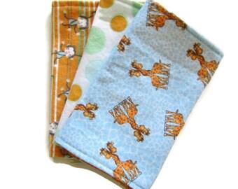 Burp Cloths, Reversible Flannel, Set of 3, Soft Burp Cloths, Baby Shower Gift Boy, Giraffe Print, Monkey Print