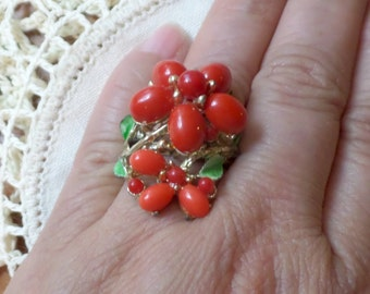 Vintage Red Berry Floral Ring Costume Cute Adjustable